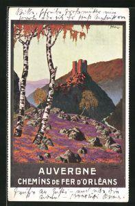 AK Tourismus, Auvergne, Chemins de fer d`Orleans, Birken und Burg auf Berg