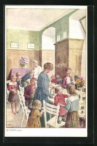 AK Heim der Kinderfürsorge im Speisesaal mit vielen Kindern