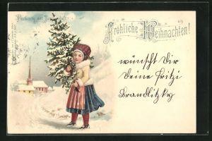 Duft-AK Kleines Mädchen mit Tannenbaum im Schnee mit Duft, Weihnachtsgruss