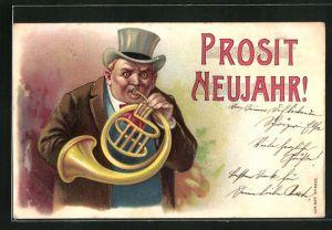 Präge-AK Duft-AK Herr mit einer Tuba, Neujahrsgruss