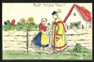 Ausmal-AK Dame mit einem Herrn vor dem Haus