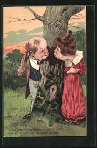 Präge-AK Liebespaar an einem Baum
