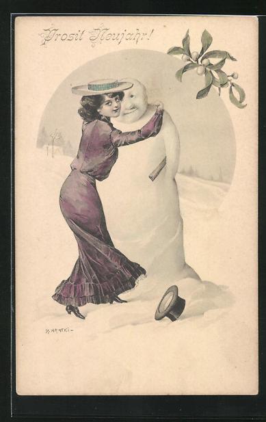 Künstler-AK R. Kratky: hübsche Dame umarmt einen Schneemann