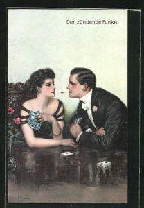 Künstler-AK Clarence F. Underwood: Der zündende Funke, Liebespaar mit Zigarette beim Kartenspiel