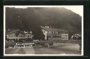 AK Zellbergeben, Flussbrücke und Gasthof