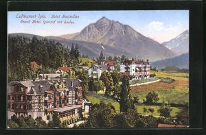AK Igls, Grand Hotel Iglerhof mit Serles und Hotel Maximilian