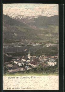 AK Stumm im Zillerthal, Panoramablick mit Kirche vom Berg