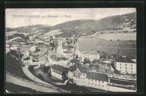 AK Deutsch-Matrei, Totalansicht mit Kirche und Blick auf Umgebung mit Strassen und Fluss