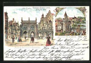 Lithographie Berlin, Gewerbe-Ausstellung 1896, Spandauer Thor mit Brücke, Spandauer Strasse mit der Gerichtslaube