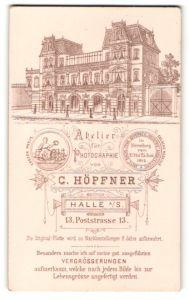 Fotografie C. Höpfner, Halle a/S, rückseitig Ansicht Halle a/S, Atelier Postrstr. 13, vorderseitig Portrait Dame