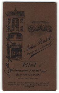 Fotografie Anton Busch, Kiel, , rückseitig Ansicht Kiel, Atelier Holtenauer Str. 111a, vorderseitig Portrait Kleinkind
