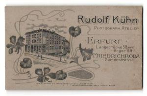 Fotografie Rudolf Kühn, Erfurt, rückseitige Ansicht Erfurt, Atelier Langebrücke 52 und Anger 58, vorderseitig Portrait