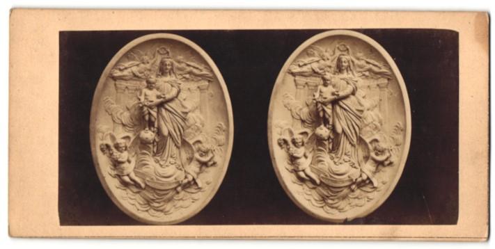Stereo-Fotografie Relief von unbek. Künstler, Maria mit dem Kinde