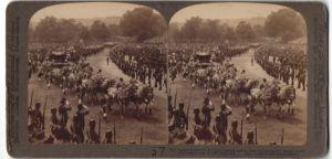 Stereo-Fotografie Underwood & Underwood, New York, Ansicht London, Kröningsprozession Edward VII. 1902