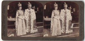 Stereo-Fotografie Underwood & Underwood, New York, Portrait König Edward VII. und Queen Alexandra, Krönung 1902
