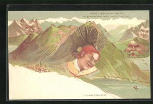 Lithographie Killinger Nr. 107, Der Rigi, Ewig jung und schön, Berg mit Gesicht / Berggesichter