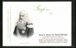 AK Georg II. Herzog von Sachsen-Meiningen in Uniform, Preussischer General der Infanterie