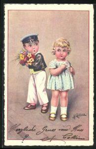 Künstler-AK sign. Antonio Collino: Kleiner Kavalier mit Blumenstrauss, rückseitig Autograph