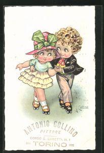 Künstler-AK sign. Antonio Collino: Kleines Paar auf Rollschuhen, rückseitig Autograph