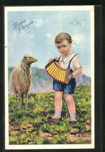 Künstler-AK sign. Antonio Collino: Kleiner Schafhirte mit Akkordeon, rückseitig Autograph