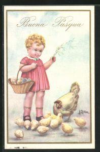 Künstler-AK sign. Antonio Collino: Mädchen mit Korb voller Ostereier, rückseitig Autograph