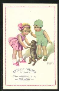 Künstler-AK sign. Antonio Collino: Mädchen tanzt mit ihrem Hündchen, rückseitig Autograph