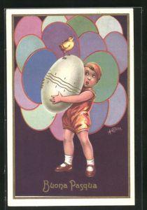 Künstler-AK sign. Antonio Collino: Buona Pasqua, Mädchen mit riesigem Osterei, rückseitig Autograph