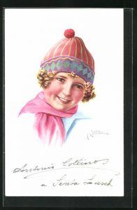 Künstler-AK sign. Antonio Collino: Blondgelocktes Mädchen mit Pudelmütze, mit Autograph