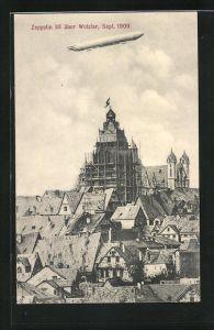 AK Wetzlar, Zeppelin II über dem Ort, 1909