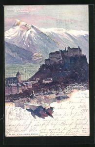 Künstler-Lithographie Fritz Hass: Salzburg, Karl der Grosse im Untersberg, Lillinger Nr. 181, Berg mit Gesicht