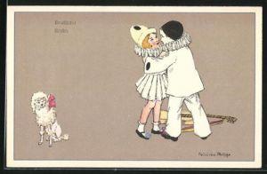 Künstler-AK sign. Felicien Philipp: Harlekin Junge u. Mädchen tanzen neben Pudel, Endlich!