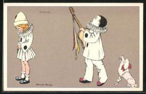 Künstler-AK sign. Felicien Philipp: Harlekin Junge singt mit Gitarre u. Pudel für Mädchen