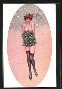 Künstler-AK Raphael Kirchner: nackte Frau in schwarzen Strümpfen im Schnee bedeckt sich mit Mistel