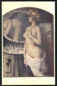 Künstler-AK Raphael Kirchner: halbnackte Dame betrachtet sich im Spiegel an Tisch mit Flakons