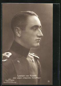 Foto-AK Sanke Nr. 555: Leutnant von Keudell in Uniform, einer unserer erfolgreichen Kampfflieger