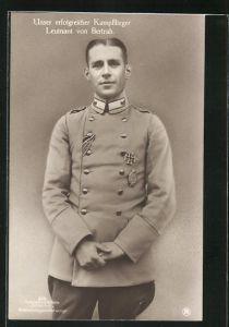 Foto-AK Sanke Nr. 516: Leutnant von Bertrab in Uniform, unser erfolgreicher Kampfflieger