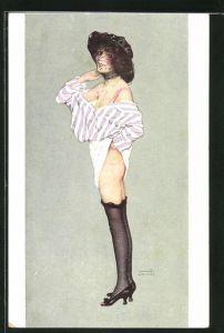 Künstler-AK Raphael Kirchner: Dame mit Hut u. schwarzem Schleier vor Gesicht, entblösst Po u. Beine