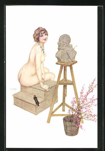 Künstler-AK Raphael Kirchner: nackte Frau auf Tritt betrachtet lachend modellierten Männerkopf mit Kapuze