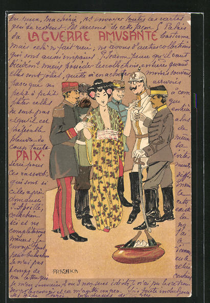 Künstler-Lithographie Raphael Kirchner: La Guerre Amusante, Paix, Geisha und europ. Offiziere