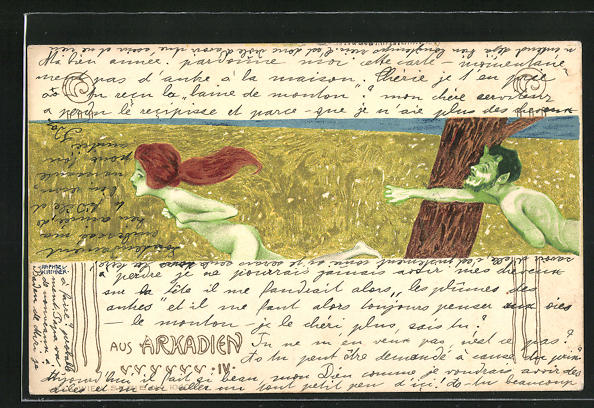Künstler-Lithographie Raphael Kirchner: Aus Arkadien, Faun jagd nackte Maid