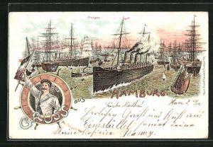 Lithographie Hamburg, Motiv vom Freihafen