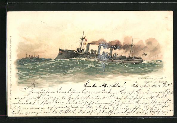 Künstler-Lithographie Hans Bohrdt: Aviso Greif unter Volldampf, Kriegsschiff