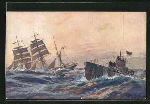 Künstler-AK Willy Stoewer: U-Boot-Spende 1917, Französ. Bark wird imAtlantik versenkt
