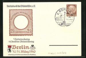 AK Berlin, 5 Reichsbund, 46. Deutscher Philatelistentag 1940, Ganzsache