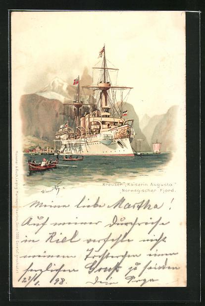 Künstler-Lithographie Hans Bohrdt: Kreuzer Kaiserin Augusta im Norwegischen Fjord