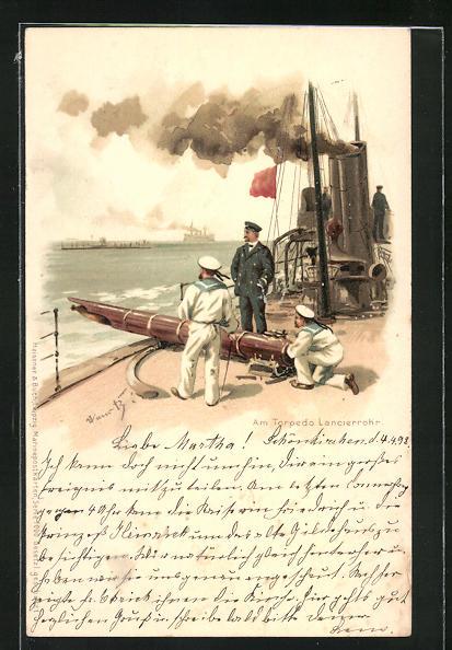 Künstler-Lithographie Hans Bohrdt: Am Torpedo Lancierrohr, Kriegsschiff