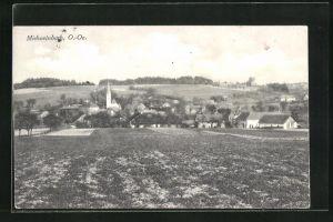 AK Michaelnbach, O.-Oe, Teilansicht über Feld mit Blick auf Kirche