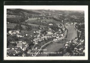 AK Steinbach a. d. Steiyr-Grünburg, Ortsansicht vom Flugzeug aus