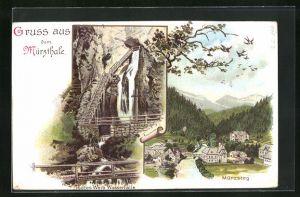 Lithographie Mürzthale, Mürzsteg, Todtes Weib Wasserfälle
