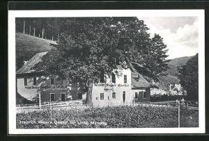 AK Mürzsteg, Blick auf Heinrich Mayers Gasthof zur Linde